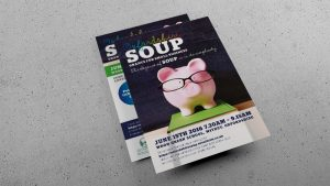 Pigs Money SOUP Oxfordshire Flier visual for local fundraiser